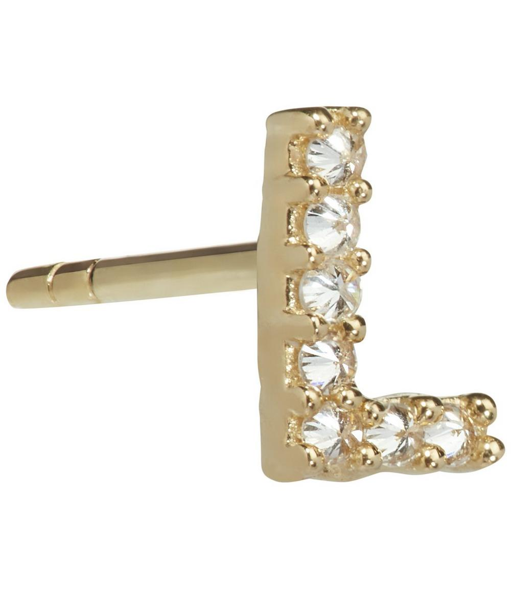 ANNOUSHKA Yellow Gold And Diamond Initial L Single Stud Earring
