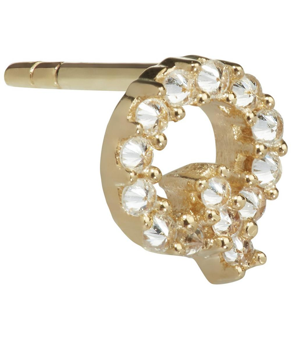 ANNOUSHKA Yellow Gold And Diamond Initial Q Single Stud Earring