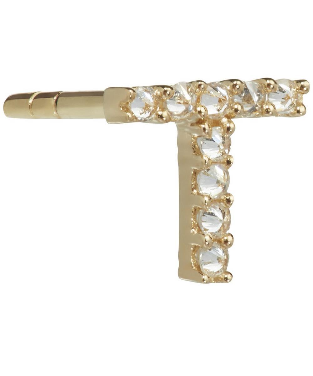18ct Gold T Diamond Initial Single Stud Earring