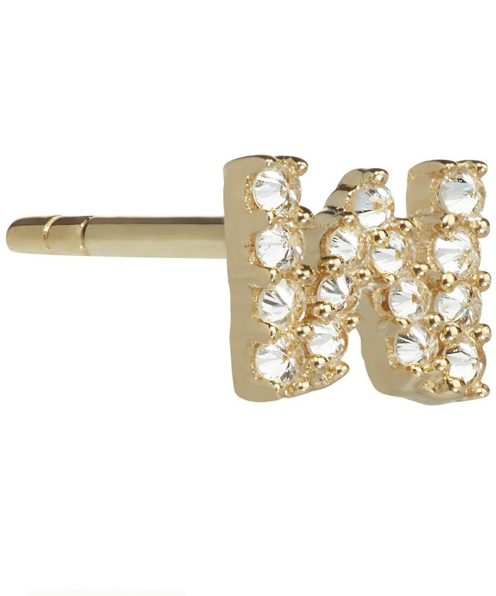 ANNOUSHKA Yellow Gold And Diamond Initial W Single Stud Earring