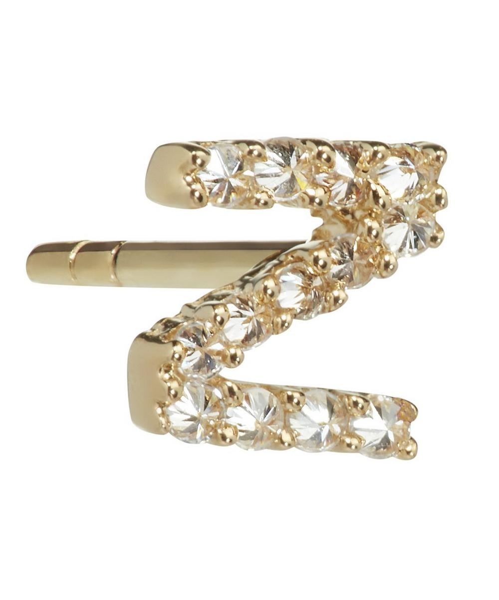 Yellow Gold And Diamond Initial Z Single Stud Earring
