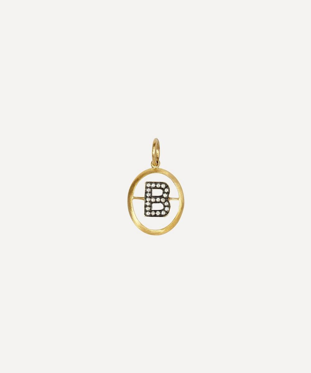 18ct Gold B Diamond Initial Pendant