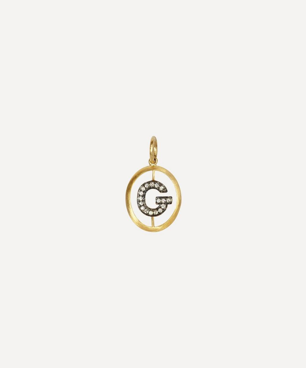ANNOUSHKA Yellow Gold And Diamond Initial G Pendant
