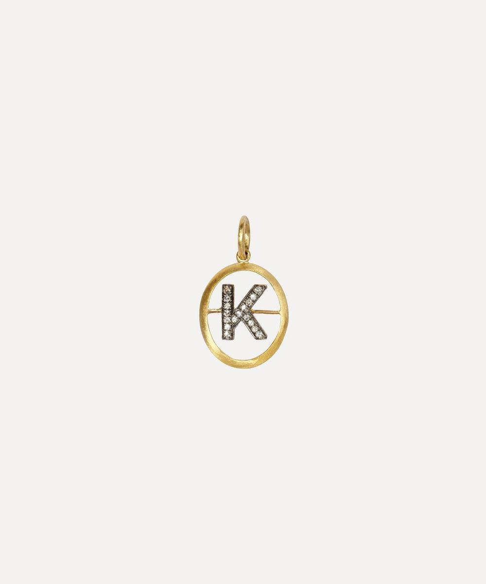 18ct Gold K Diamond Initial Pendant