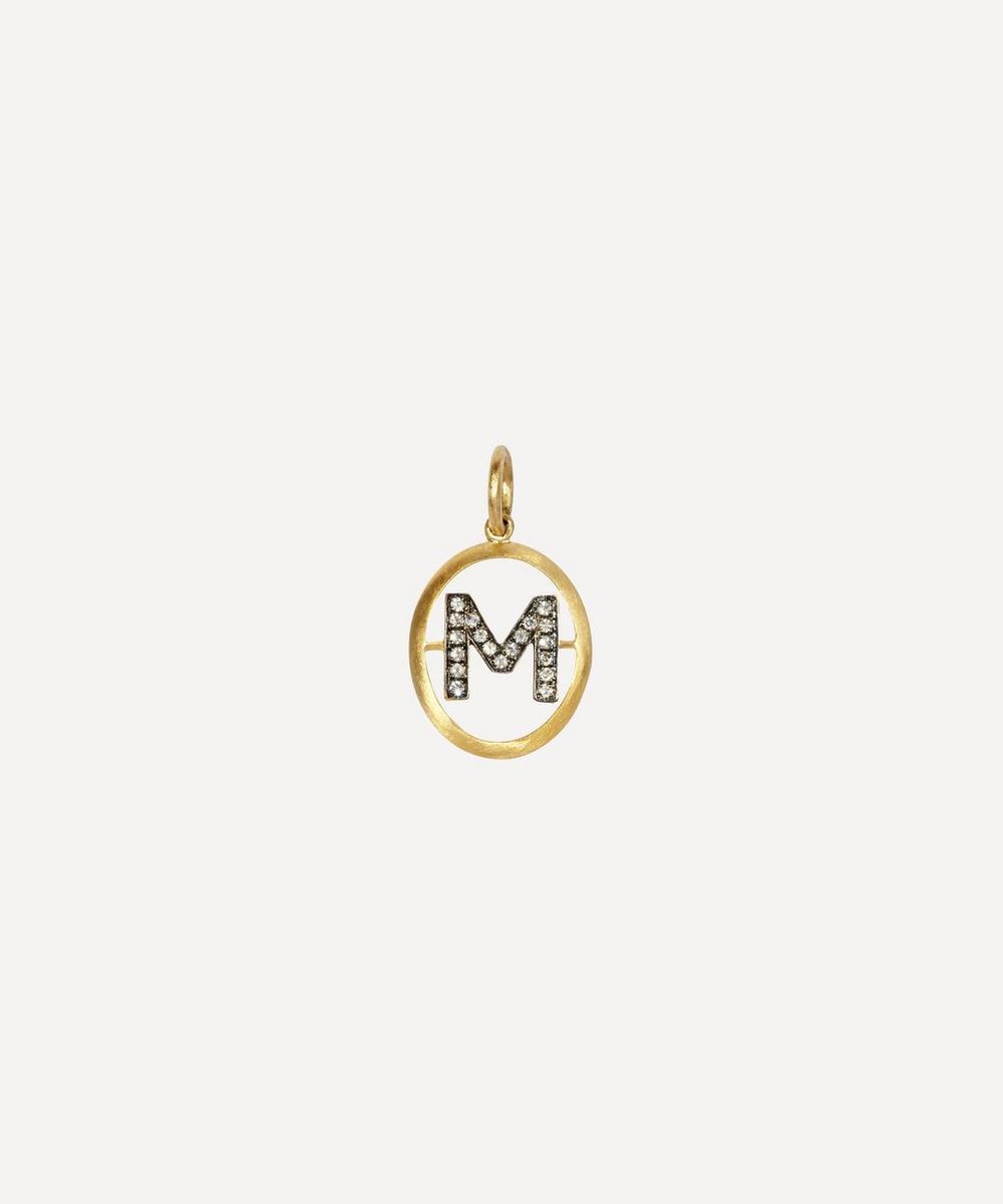 18Ct Gold M Diamond Initial Pendant