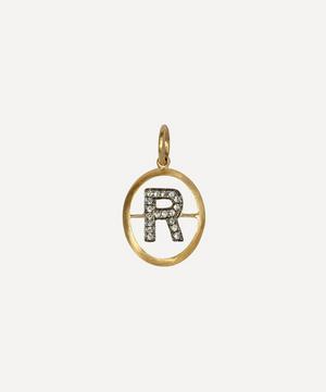 18ct Gold R Diamond Initial Pendant