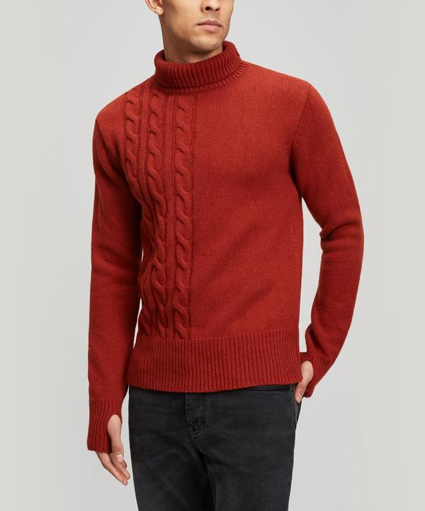 Talbot Roll-Neck Cable Knit Wool Jumper