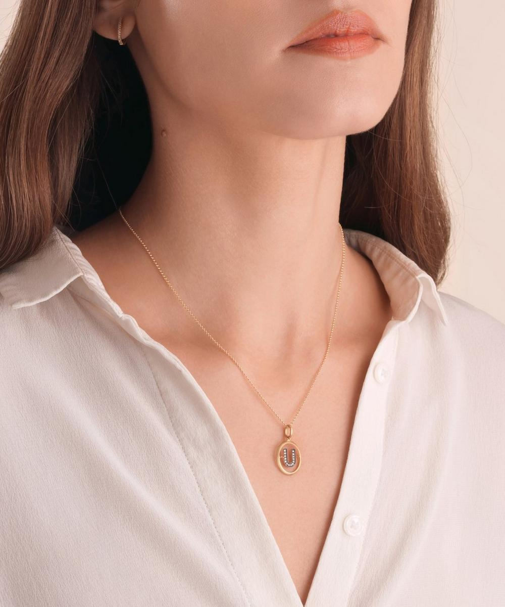 18ct Gold U Diamond Initial Pendant