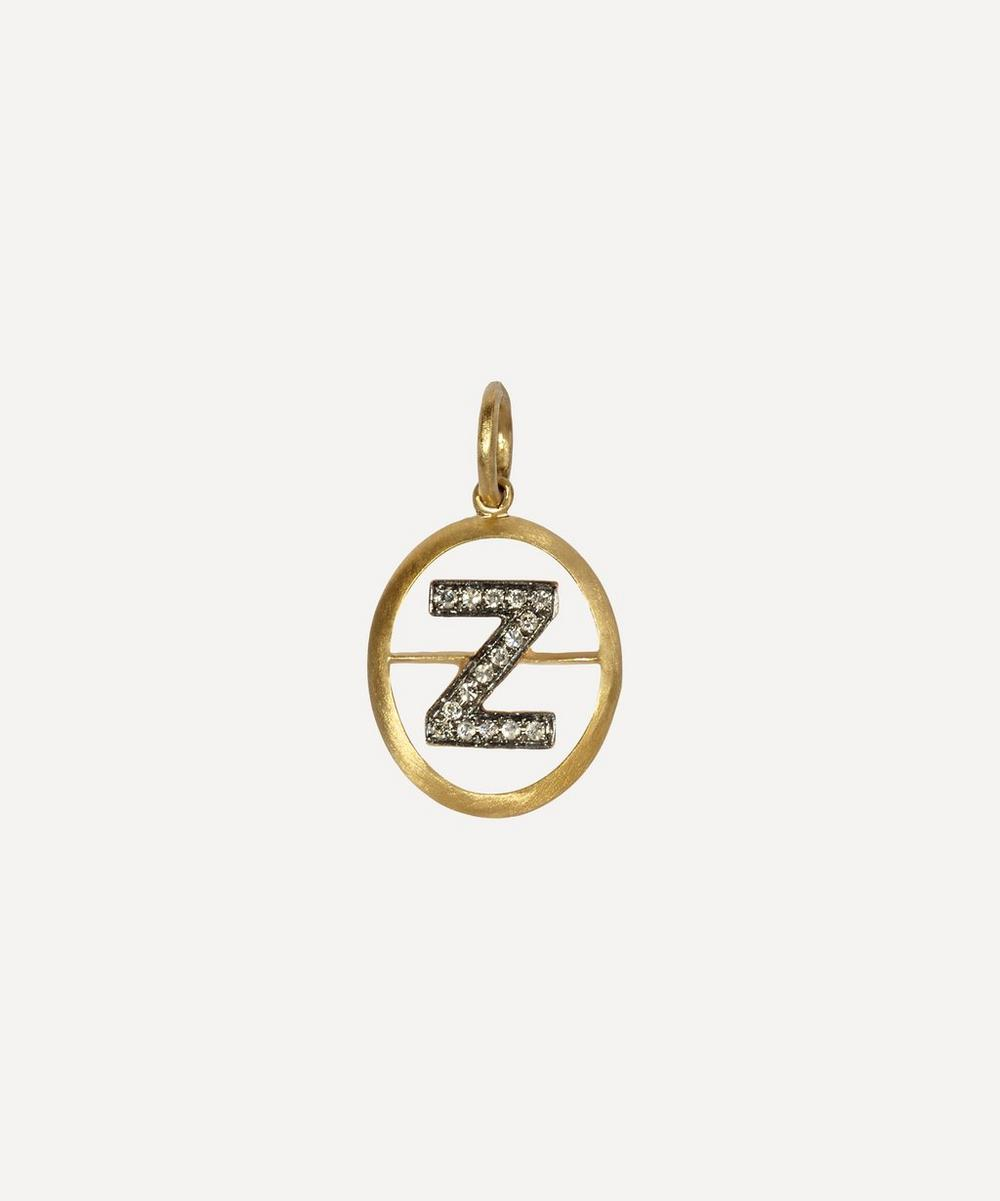 Yellow Gold And Diamond Initial Z Pendant