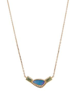 Gold Orbit Halo Opal Emerald and Diamond Necklace