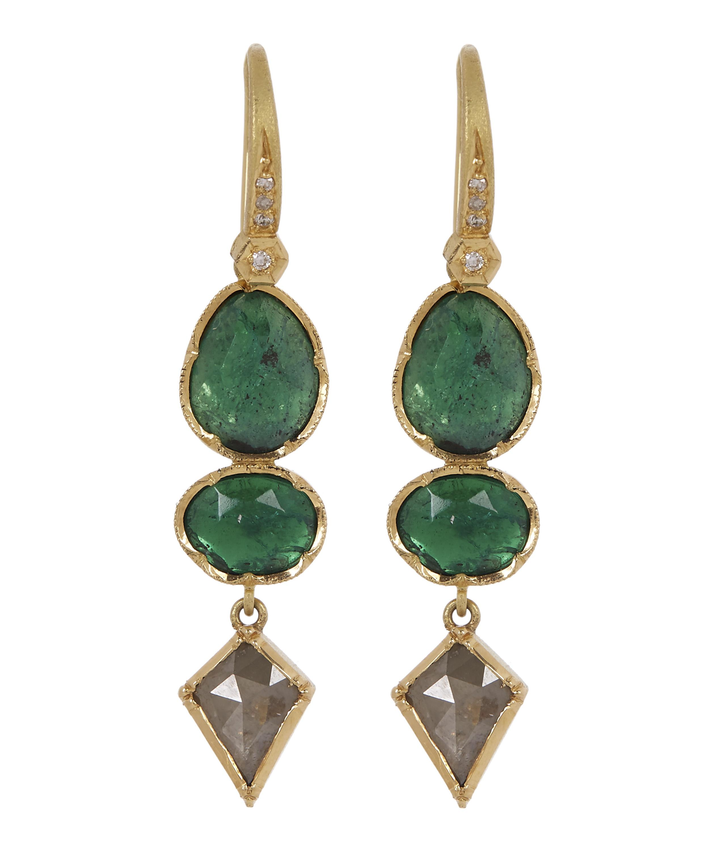 6cae9f037c Gold Orbit Emerald Diamond Geometric Drop Earrings   Liberty London