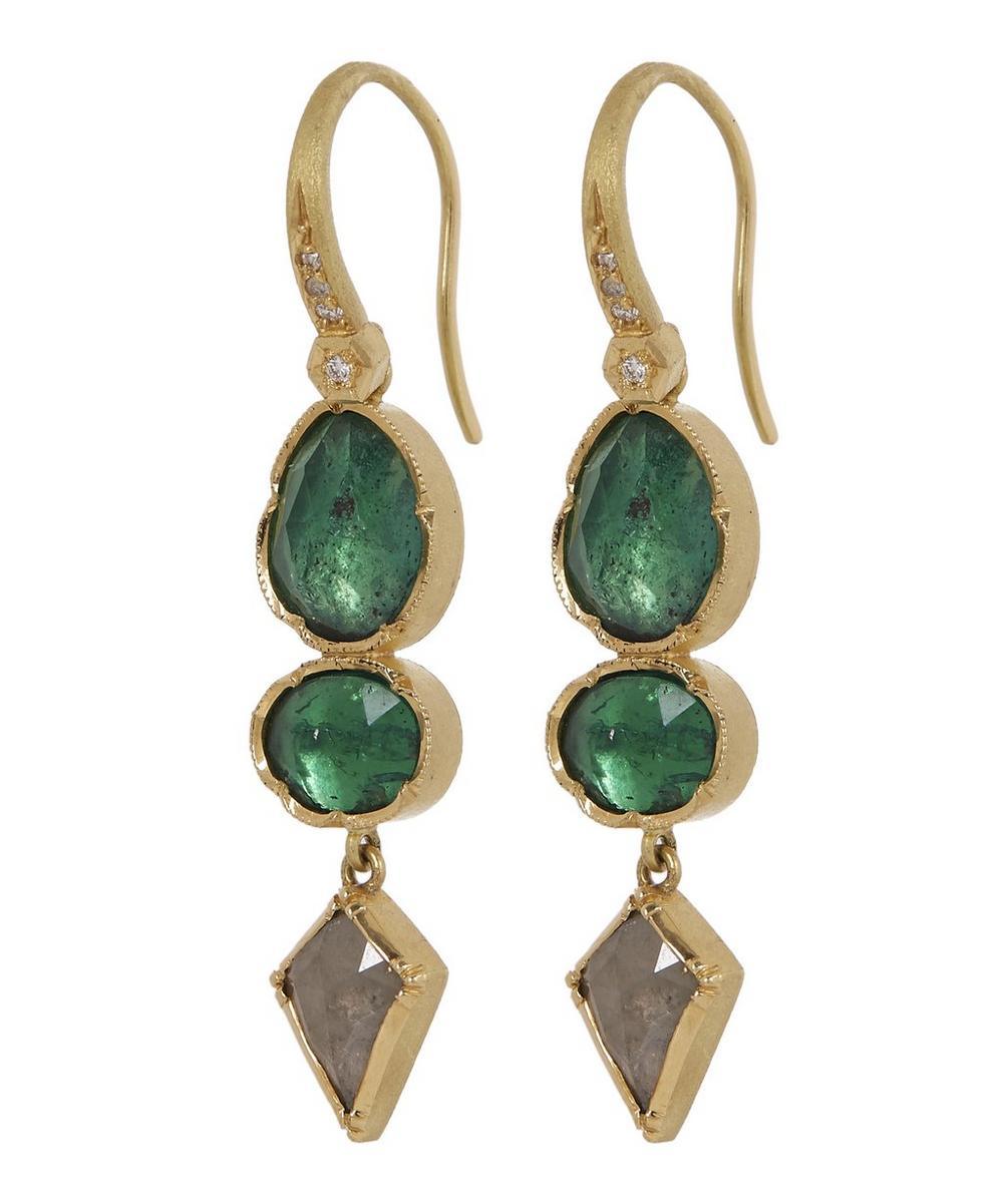 Gold Orbit Emerald Diamond Geometric Drop Earrings