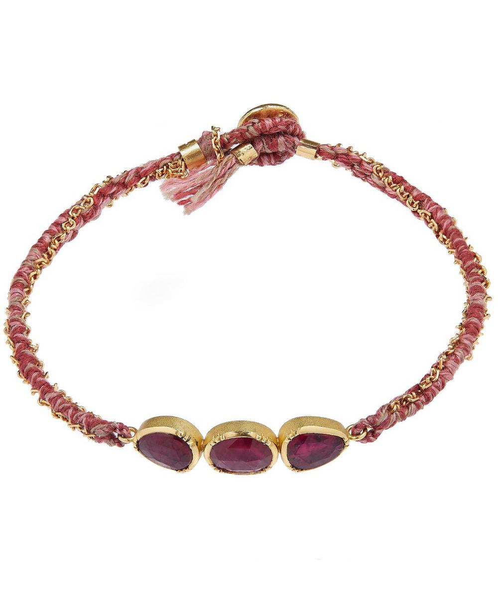 Gold Orbit Triple Ruby Silk Bracelet