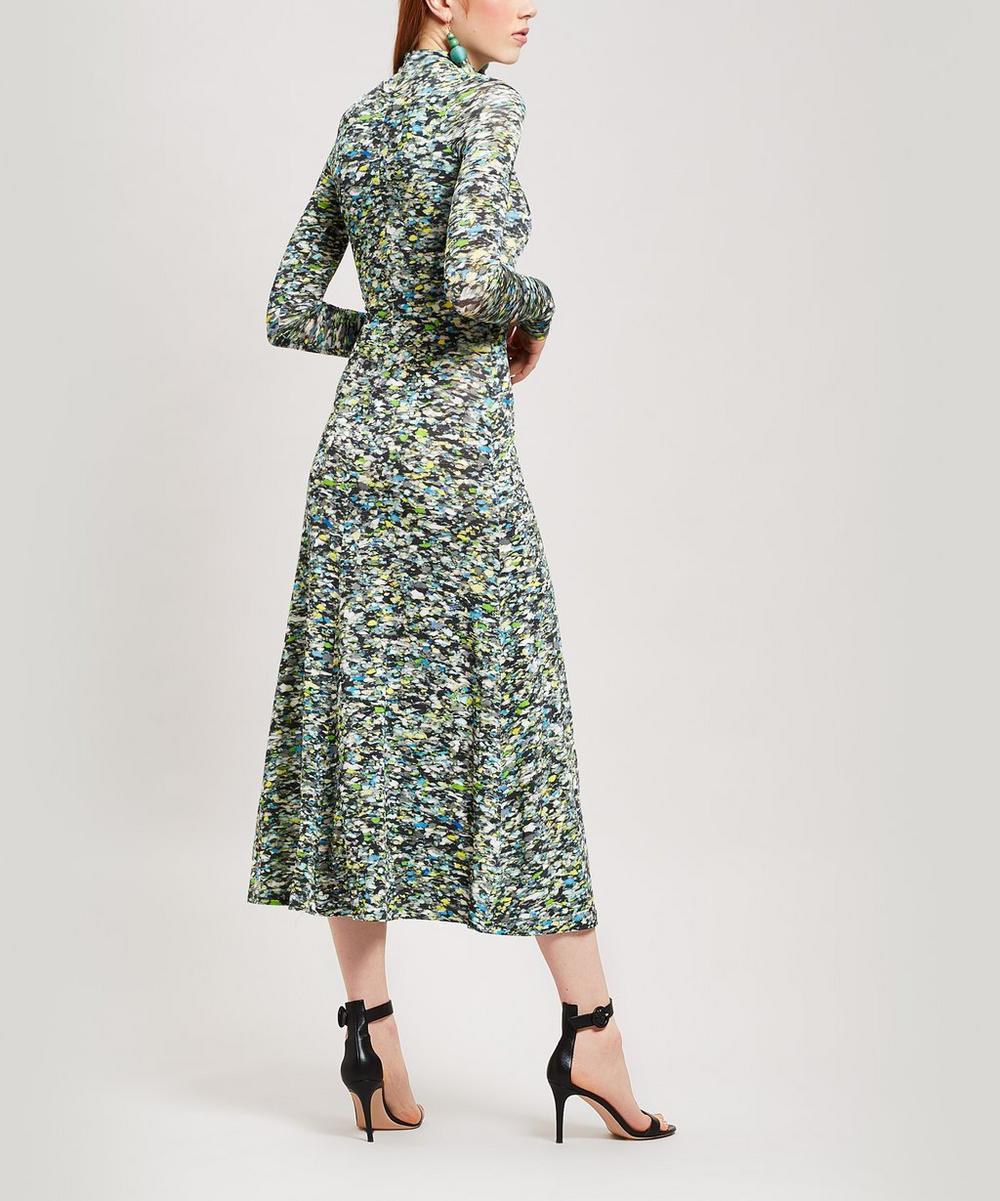 Half Zip Foam Print Midi-Dress