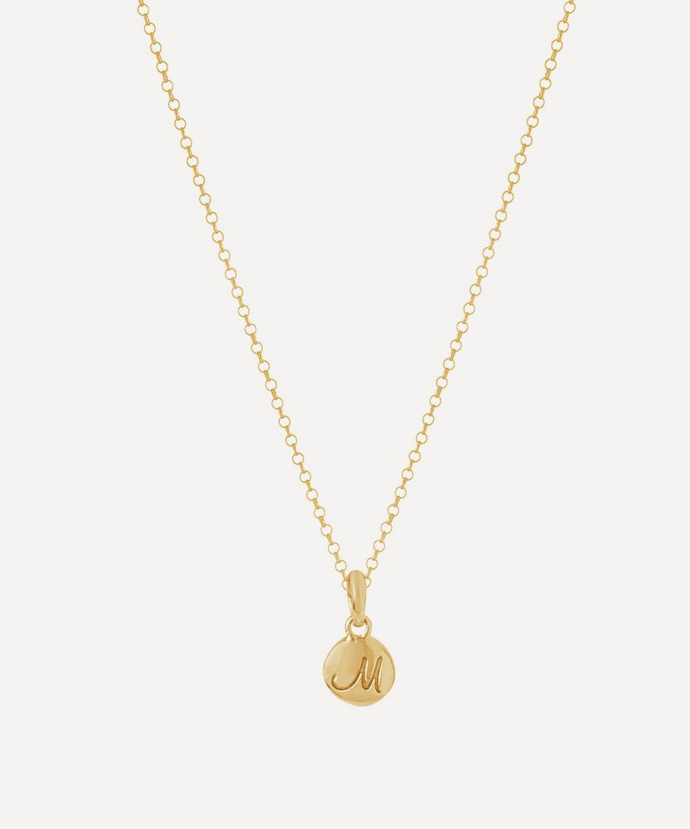 Gold-Plated Personalised Letter M Pendant Necklace