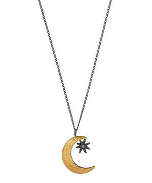 Oxidised Silver Crescent Moon and Star Diamond Necklace