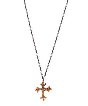 Oxidised Silver Victoria Diamond and Ruby Cross Necklace