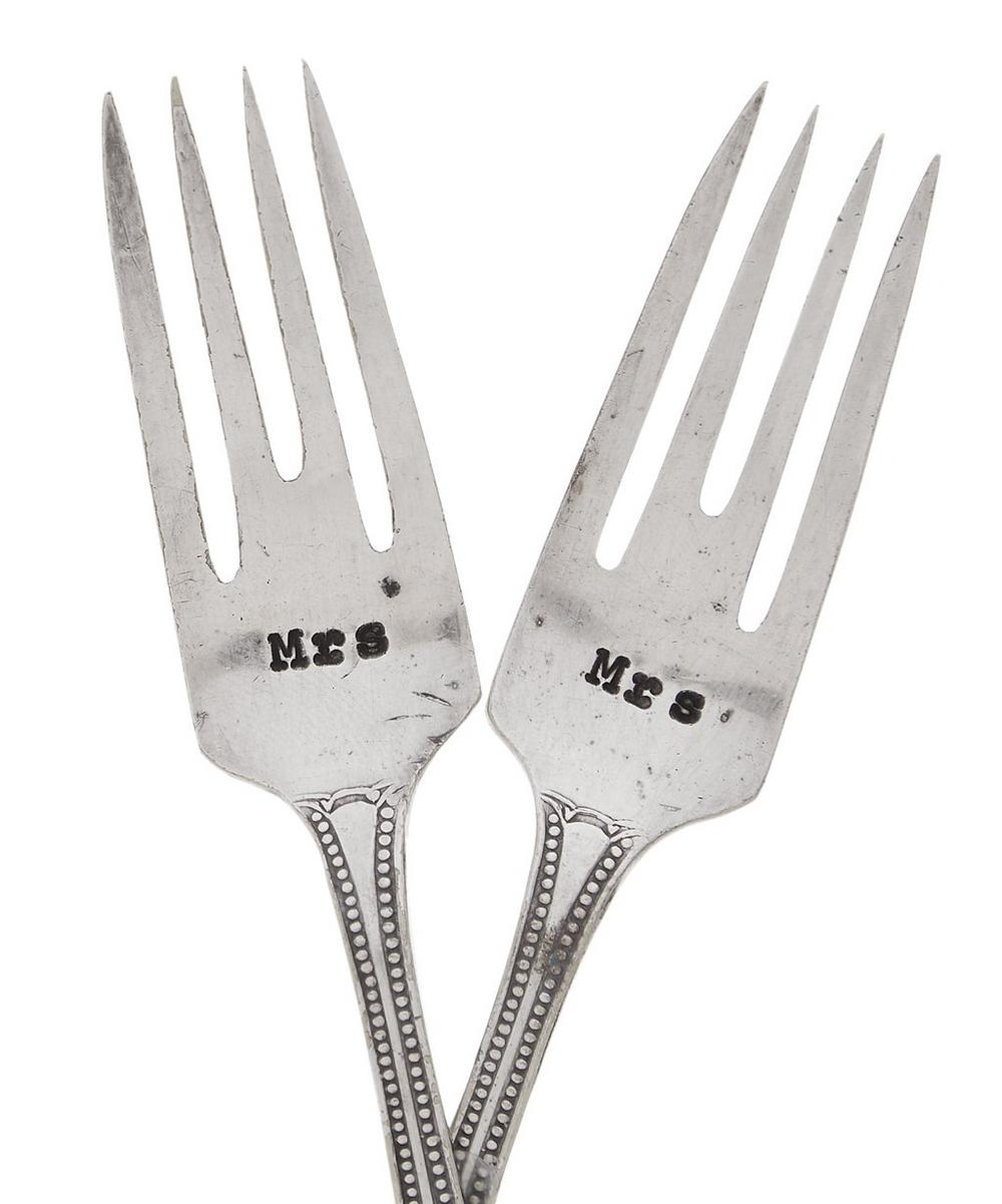 Mrs & Mrs Cake Fork Set of Two
