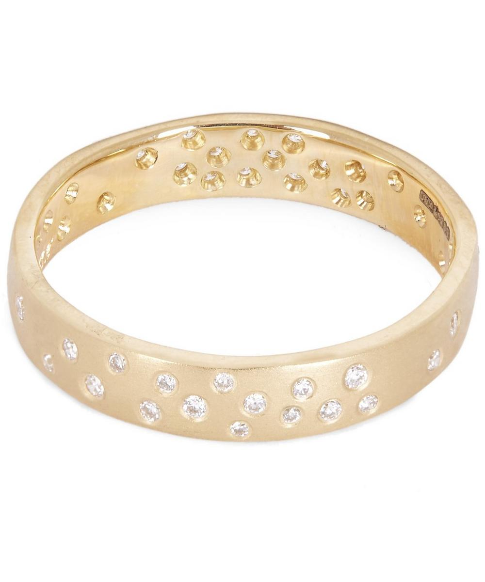 Gold White Diamond Wide Starry Night Ring