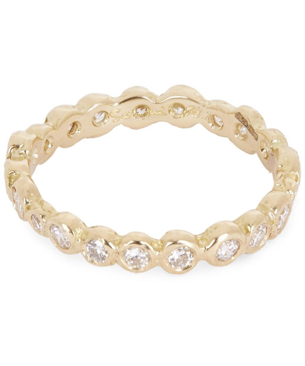 Gold White Diamond Circle Eternity Ring