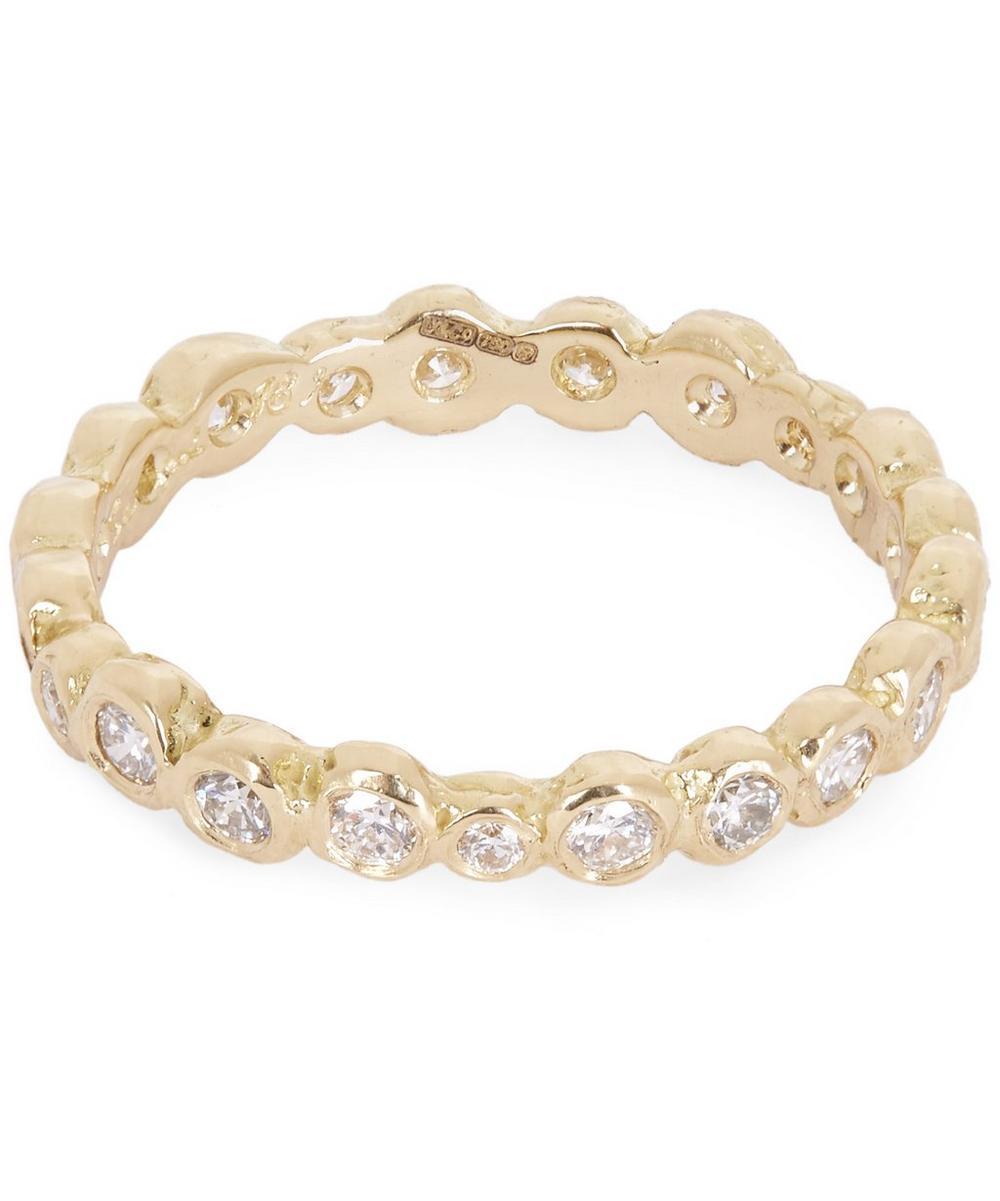 Gold White Diamond Circle Eternity Ring