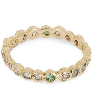 Gold Multi Green Circle Eternity Ring