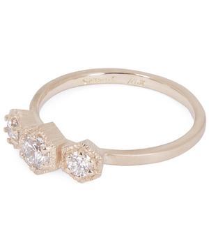 Gold Triple Hexagon White Diamond Ring