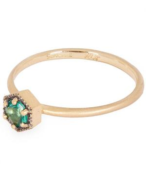 Gold Hexagon Emerald Solitaire Ring
