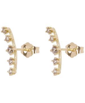 Gold Threaded Cluster Brown Diamond Stud Earrings