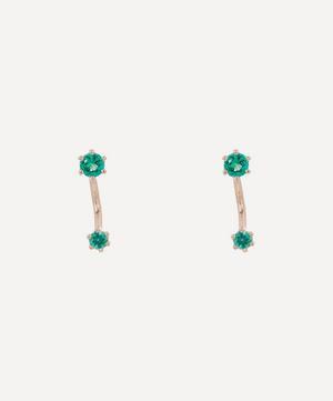 Gold Twin Emerald Stud Earrings
