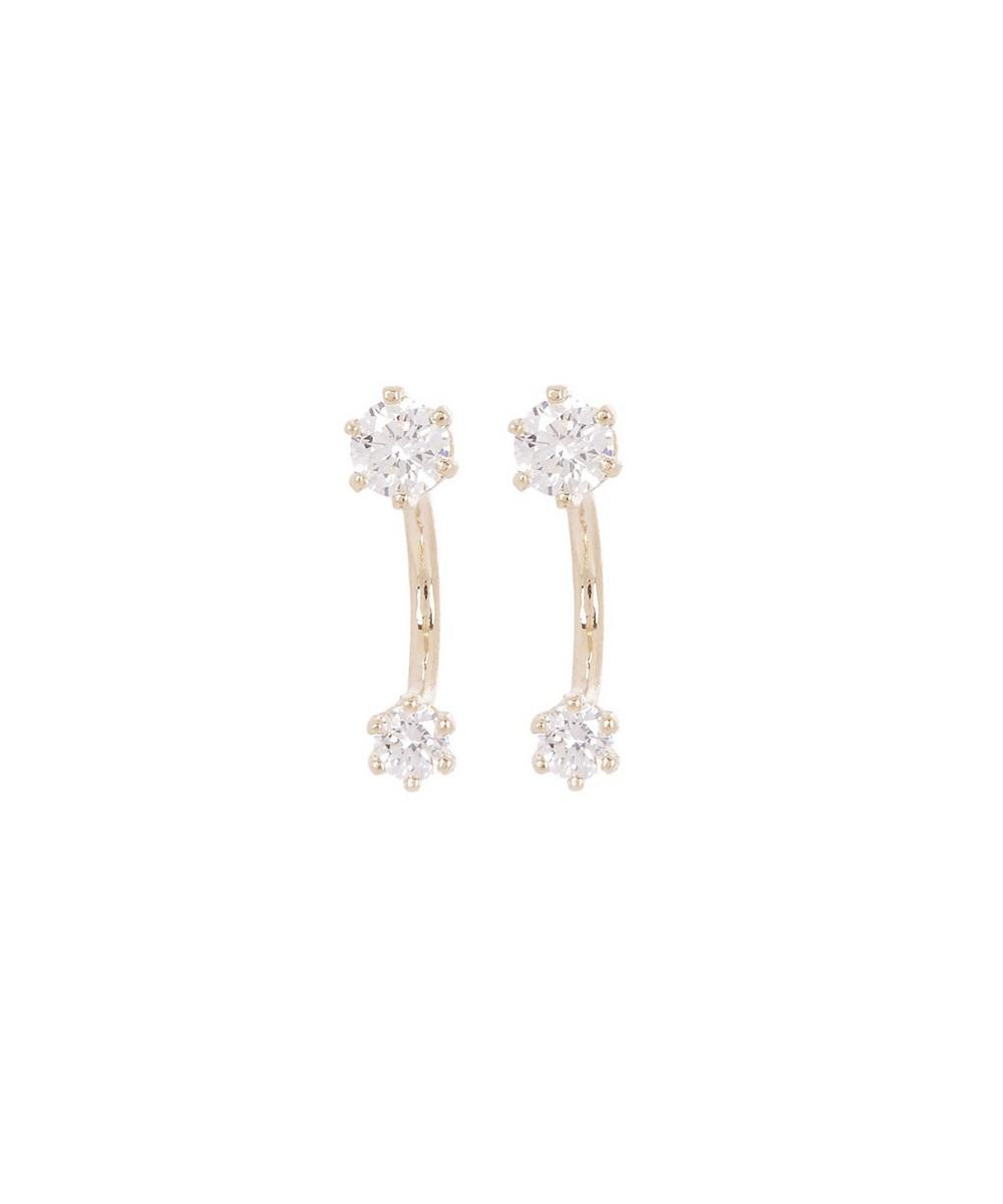 Gold Twin White Diamond Stud Earrings