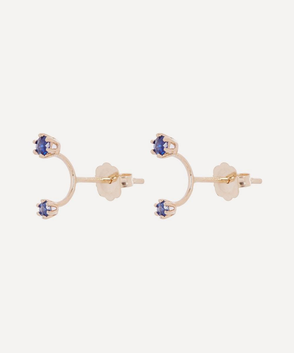 Gold Twin Sapphire Stud Earrings