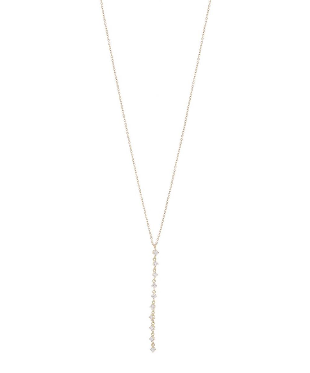 Gold Chandelier White Diamond Cluster Necklace