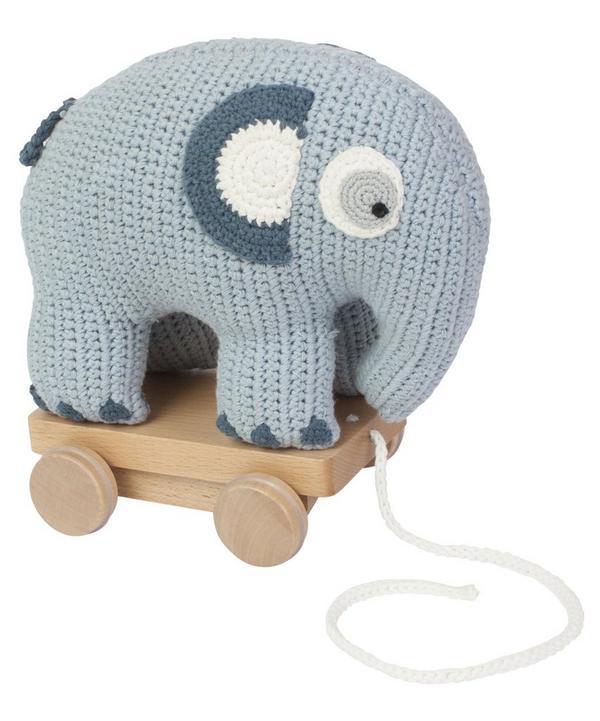 Crochet Elephant Pull-Along Toy