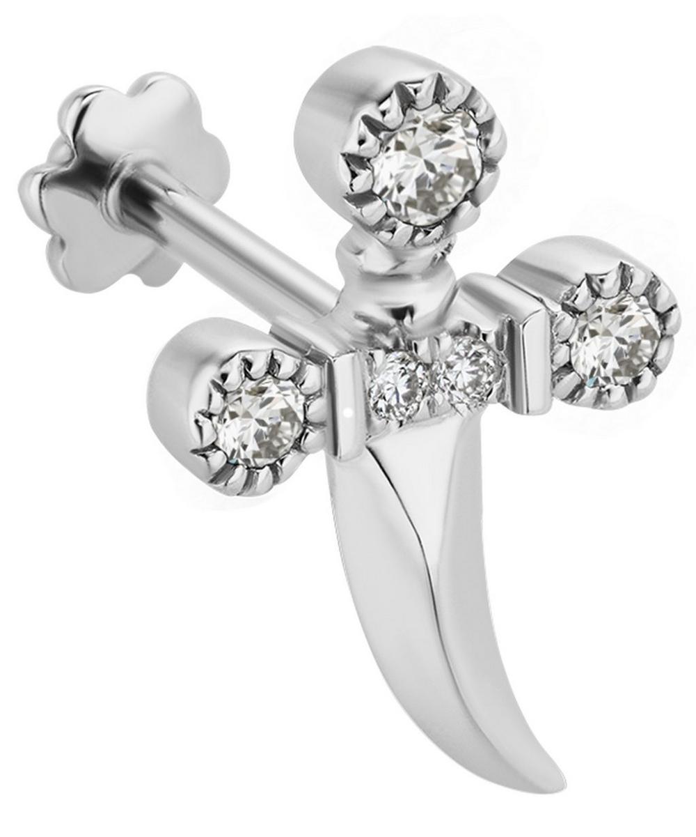Medium Diamond Dagger Threaded Stud Earring Left