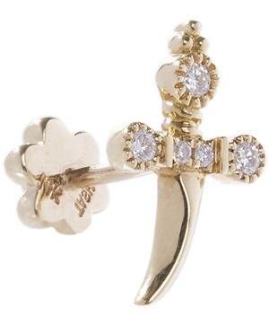 Medium Diamond Dagger Threaded Stud Earring Right