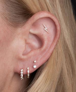 Diamond Lightning Bolt Threaded Stud Earring