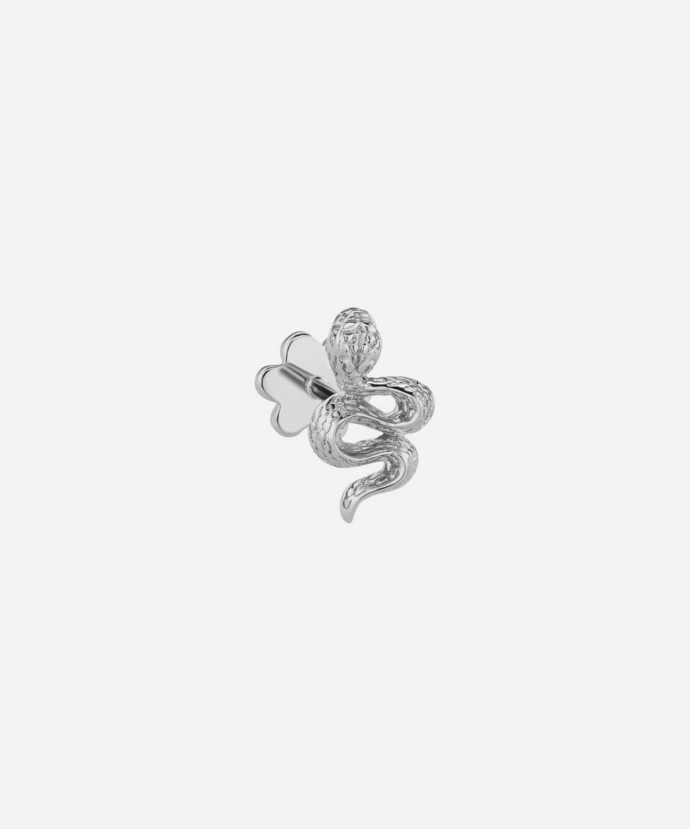 Large Engraved Diamond Snake Threaded Stud Earring Left