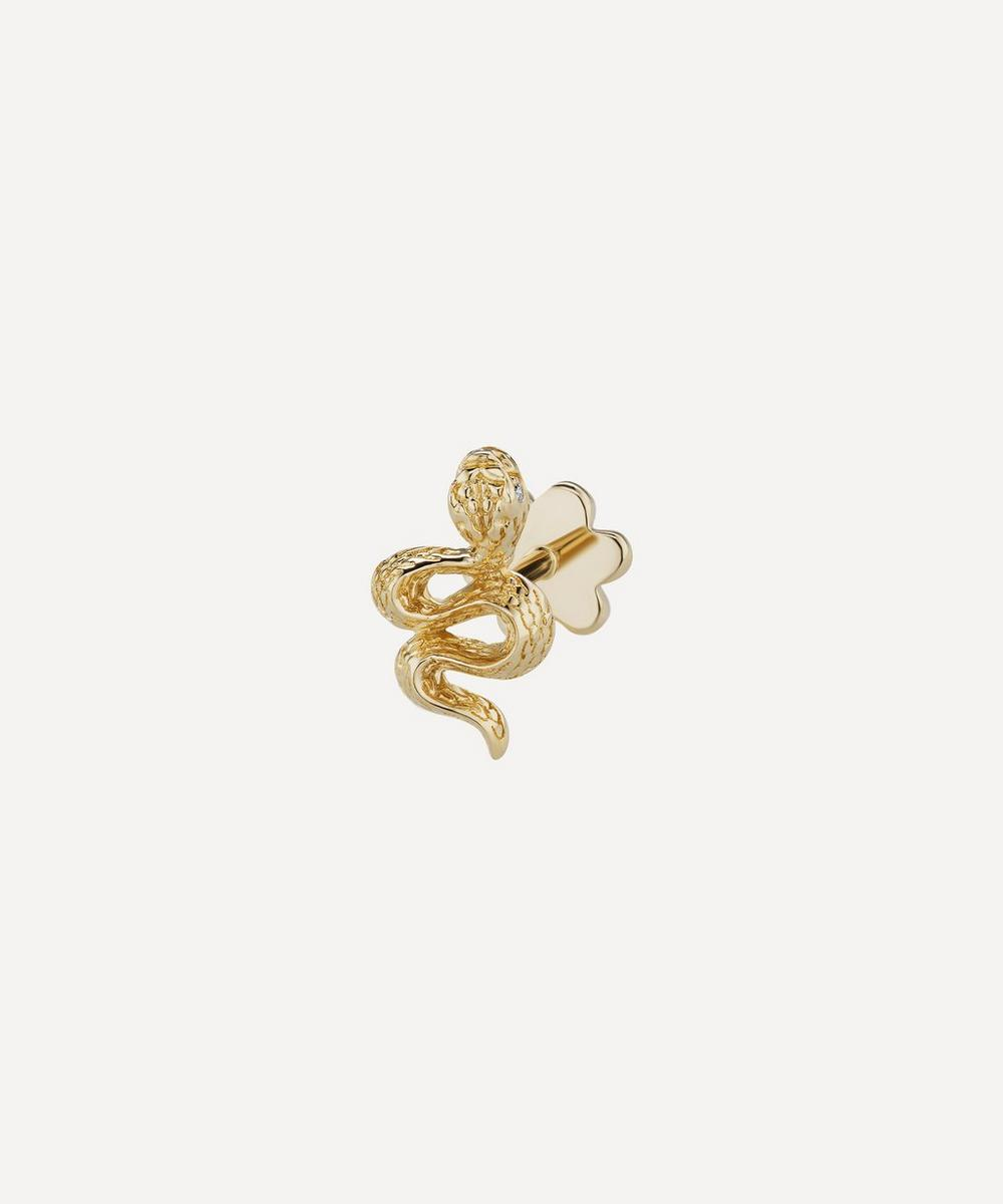 Maria Tash - Large Engraved Diamond Snake Threaded Stud Earring Right