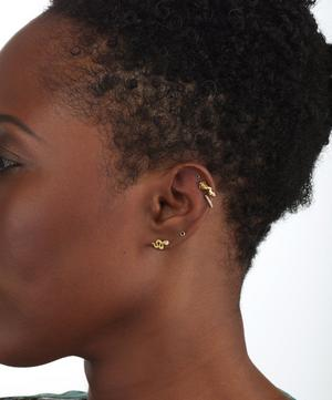 Large Engraved Diamond Snake Threaded Stud Earring Right