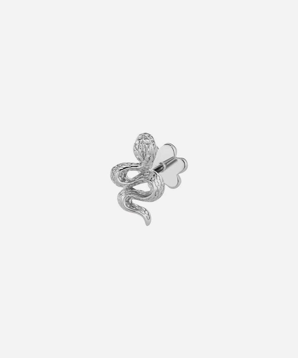 Large Engraved Diamond Snake Threaded Stud Earring Right