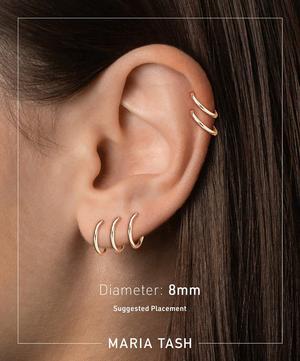 "5/16"" Black and White Diamond Five Row Pavé Hoop Earring"