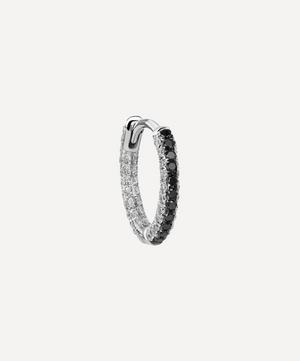 "5/16"" Black and White Diamond Five Row Pavé Hoop Earring"