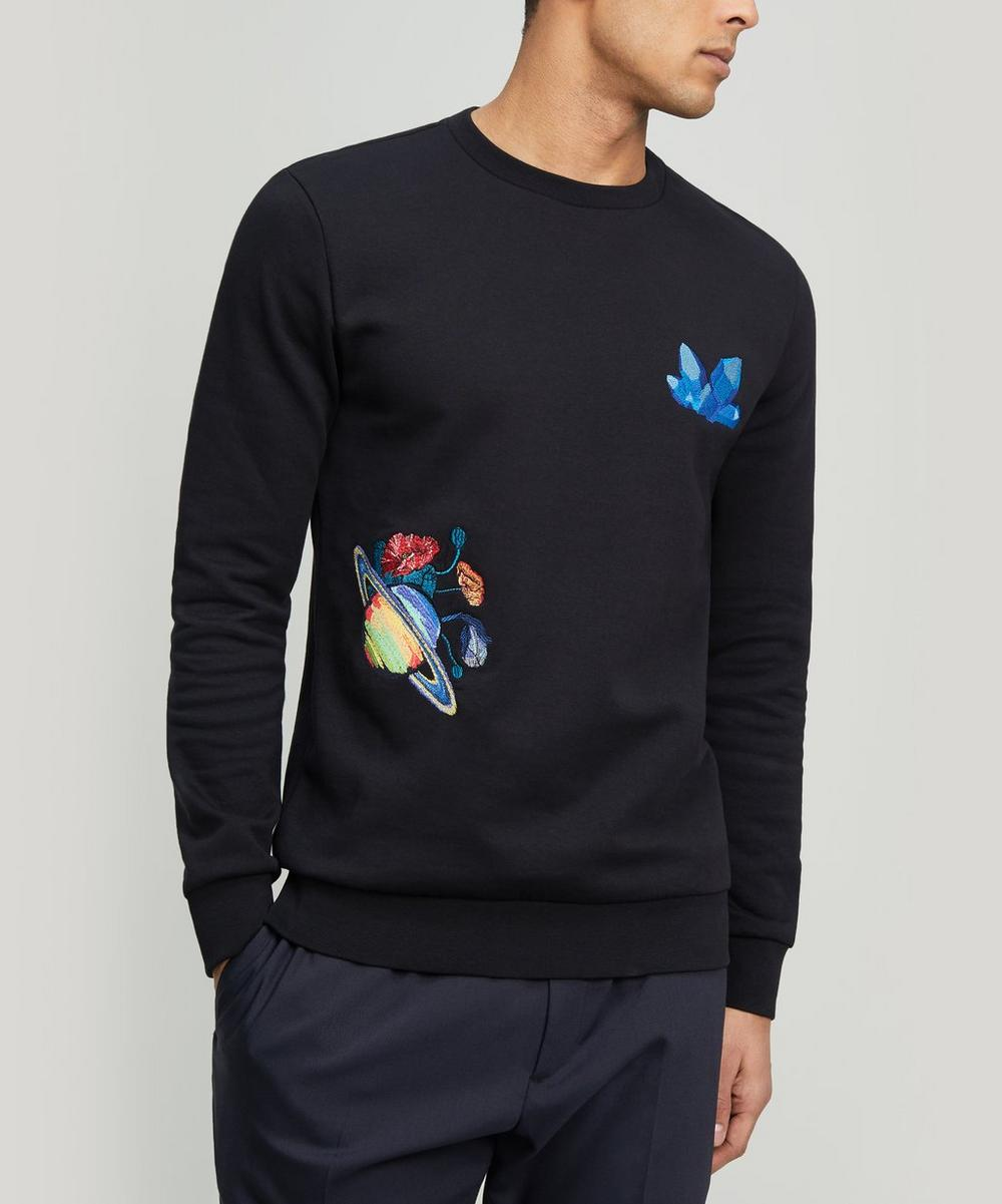 Embroidered Crystal Planet Cotton Sweater