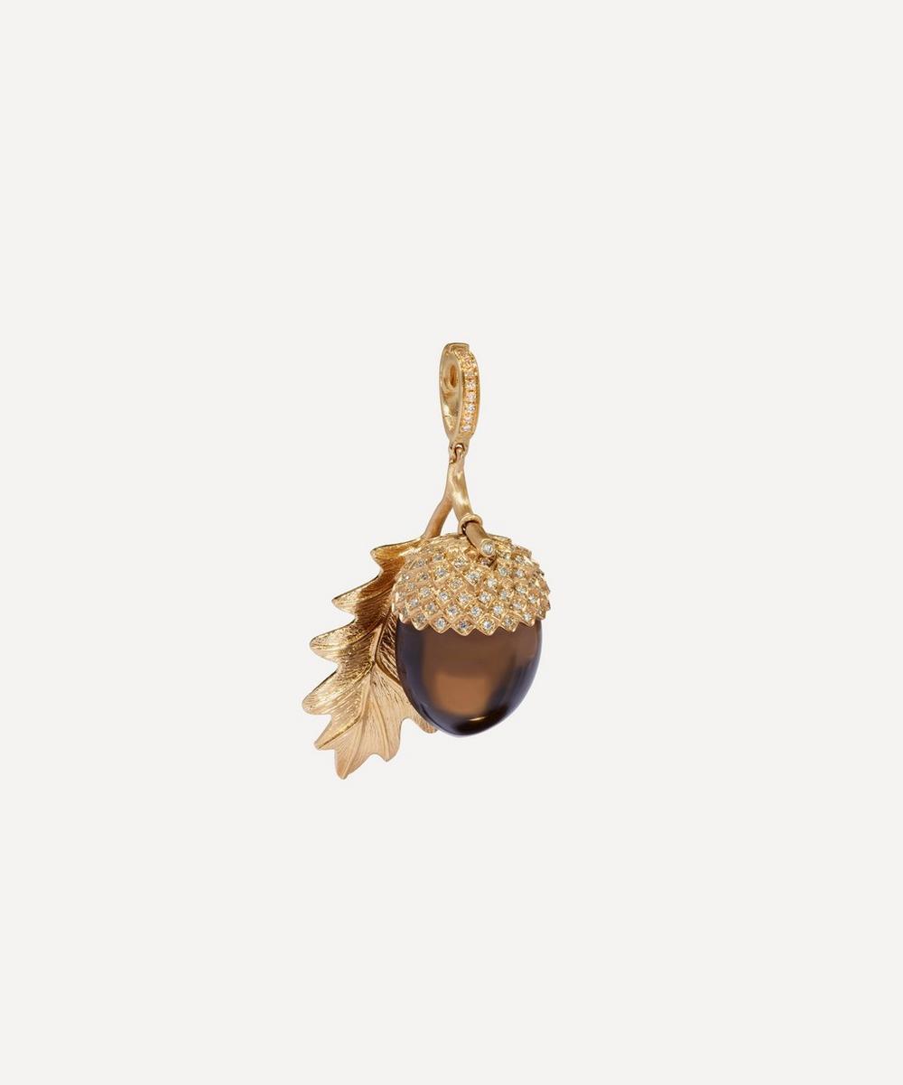 18ct Gold Smoky Quartz Acorn Seed Charm