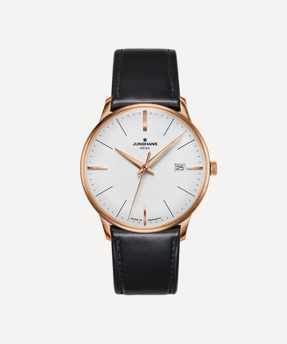 JUNGHANS Meister Mega Leather Strap Watch in Black