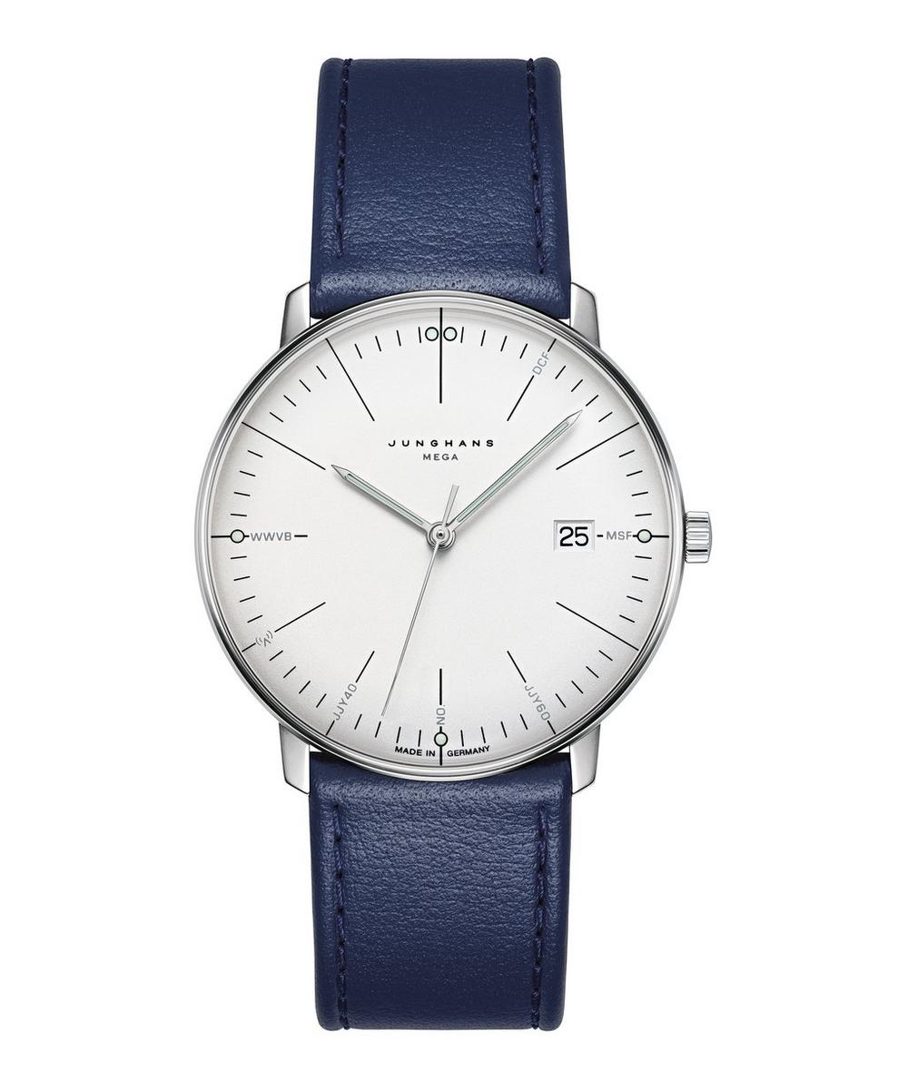 JUNGHANS Max Bill Mega Leather Strap Watch in Navy