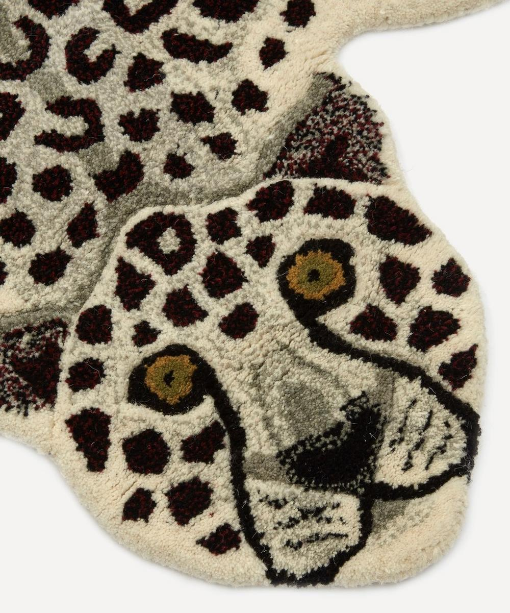 Large Snowy Leopard Rug