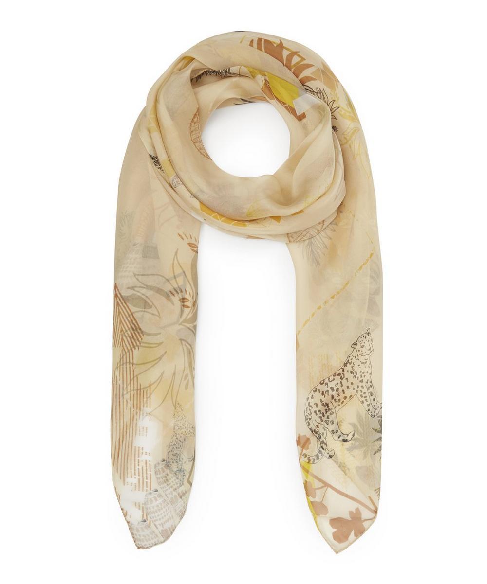 Greta Silk Geometric Floral Scarf