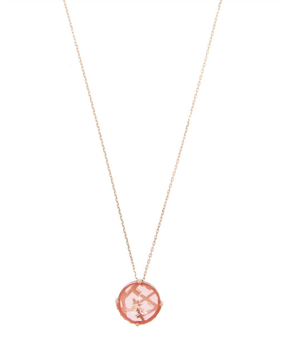 Rose Gold Salmon Topaz Necklace